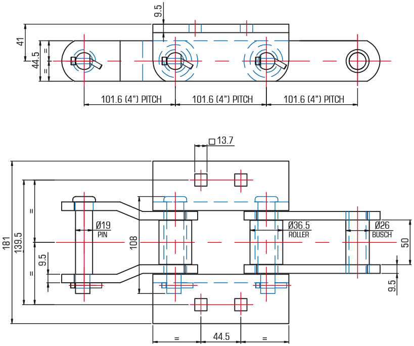 Drag Slat Chains, JKR2868/K2X3/CR