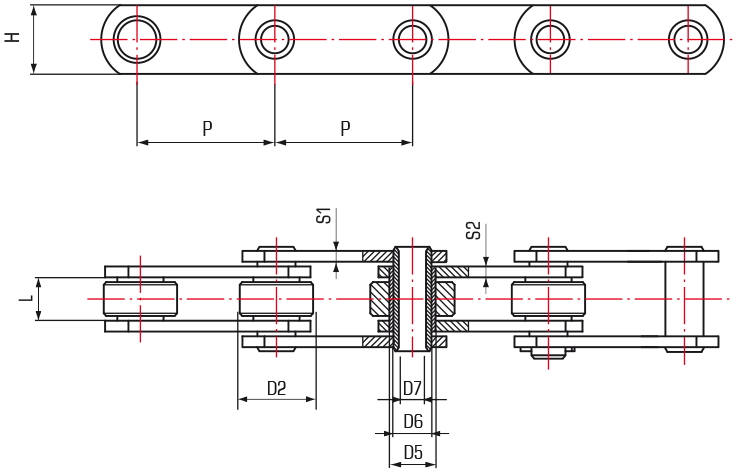 Proofer Chains Hollow Pin - drawing