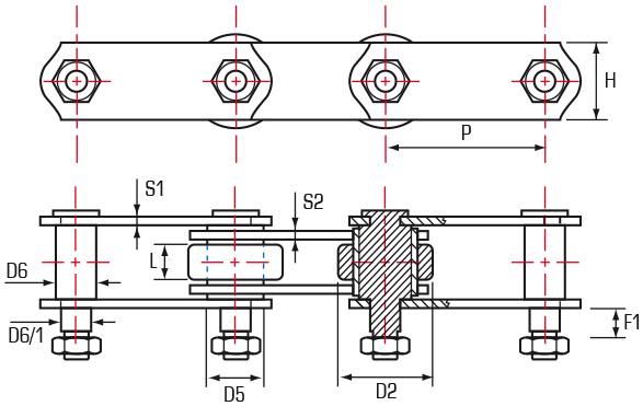 Roller Chain Extended Pins (Straight Sidebar)