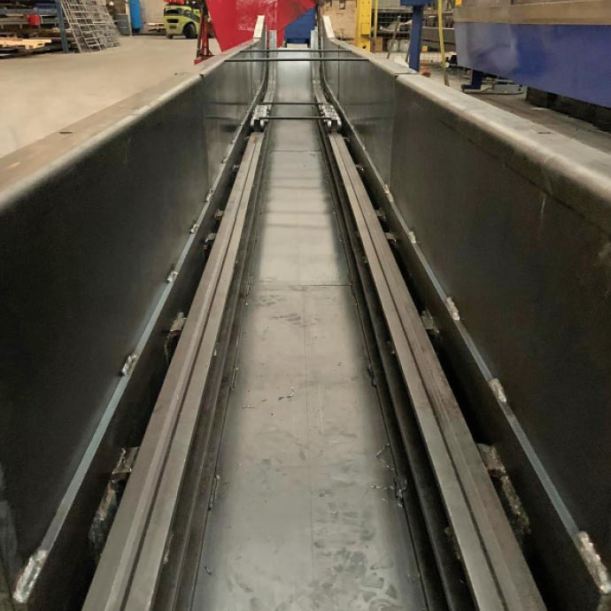 A new precipitator dust conveyor during manufacture and prior to entering the paint shop.