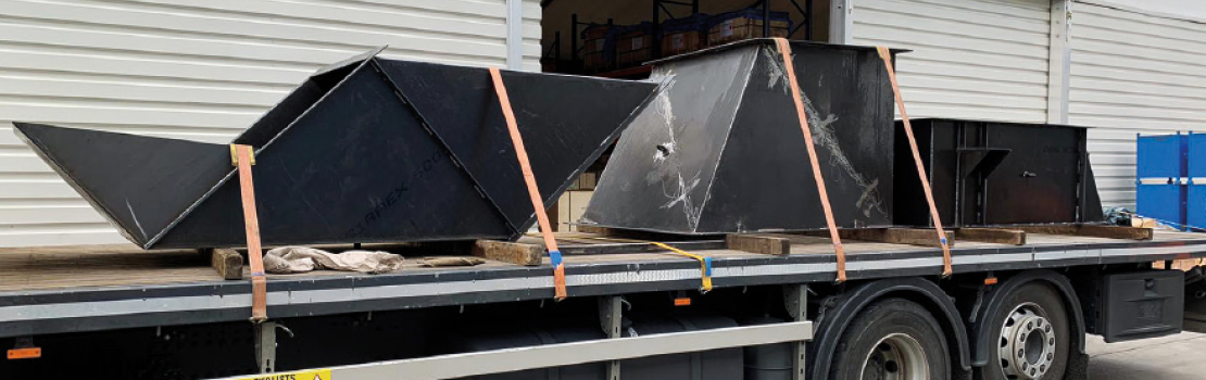 Chute sections to make up a full arrangement ready for site service installation.