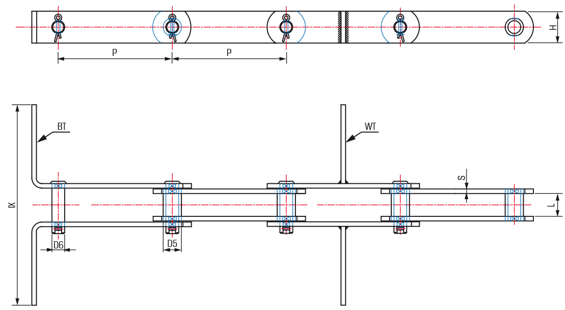 Metric Trough Scraper Chains as FV Series DIN 8165 - drawing