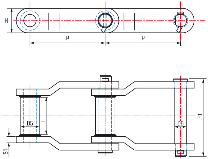 Offset Sidebar Welded Steel Chains - drawing