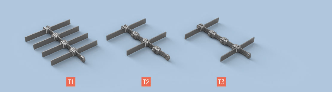 T Type Attachments for Horizontal and Slightly Inclined Conveying