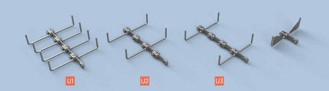 U Type Attachments for Horizontal and Inclined Conveying (with or without blanking plate)