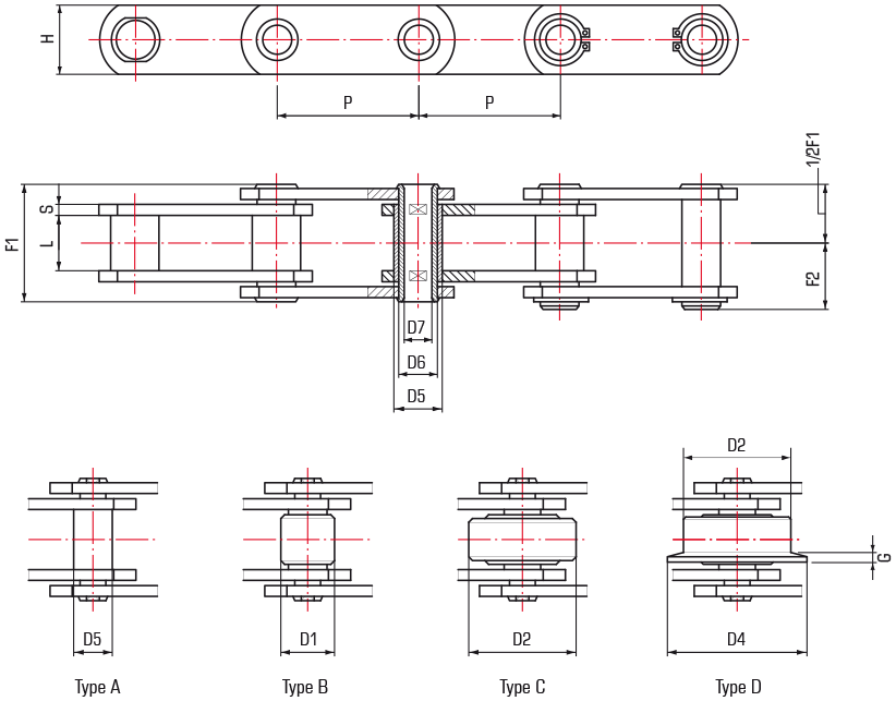 M Series Chains with Hollow Pin - drawing
