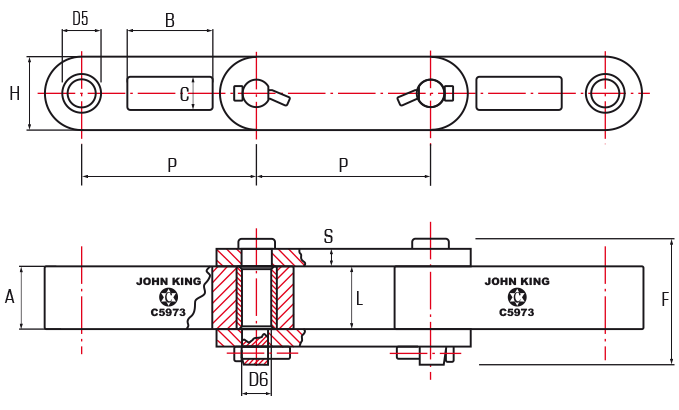 Intermediate Carrier Chains Block and Bar Style - drawing