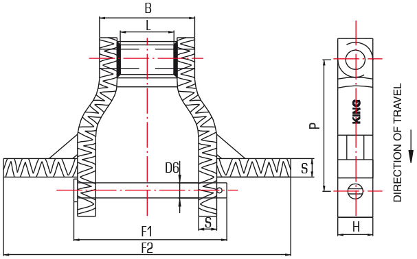 Crusader Heavy Duty Steel Drag Chains (WHX) - drawing